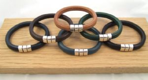 Chunky Leather Bracelet with Pressure Clasp